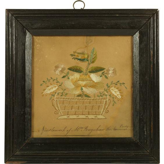 Circa 1780 Pin Prick Embroidery On Paper Mrs Bagshaw The American Lady Rare Folk Art
