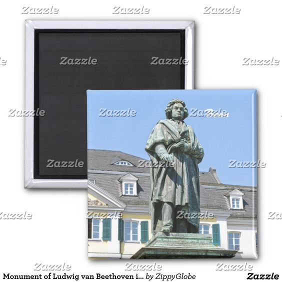 #Monument of Ludwig van #Beethoven in #Bonn 2 Inch Square #Magnet