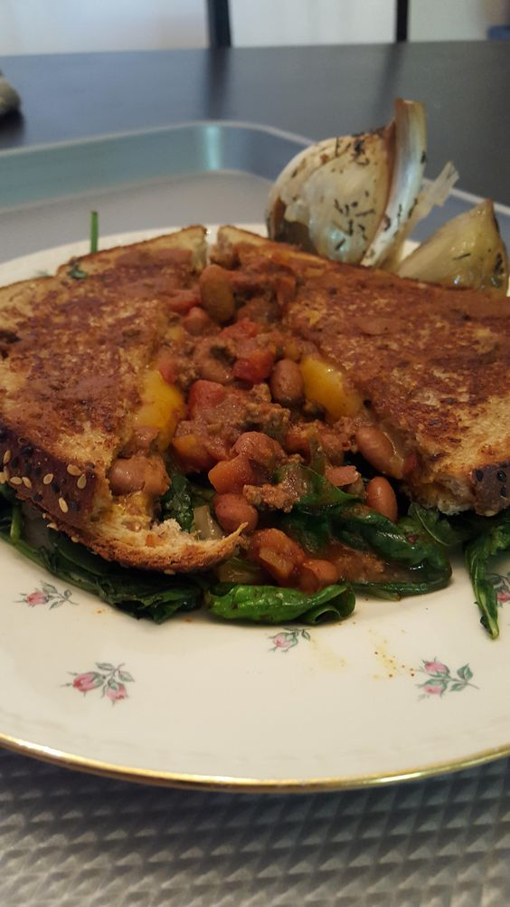 Grilled cheese with chili and roasted garlic for lunch!