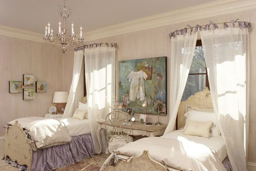 I love the headboards and curtains- little princess room