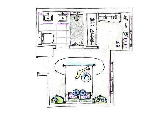 Baño Vestidor Planta:Plano: dormitorio tipo suite con baño y vestidor