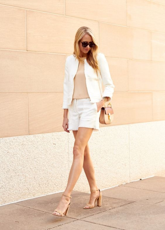 nude chunky heels with shorts and white blazer