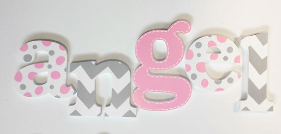 Hand Painted Wooden Letters, Name Hangings - Chevron for Girls Room or Nursery Room by www.caribimbi.com