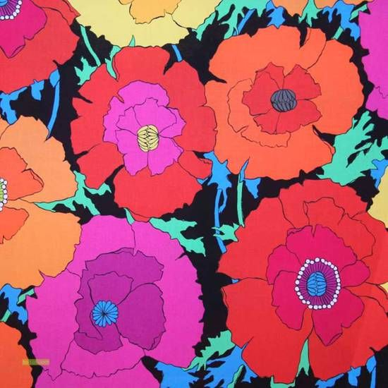 Latest Designer Fabric 'Mexican Poppy fabric in black, multi' by ...