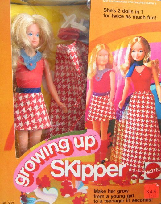 Amazon.com: Barbie GROWING UP SKIPPER DOLL w Outfits - 2 Dolls in 1 For Twice as Much Fun! (1974 Mattel Hawthorne): Toys & Games