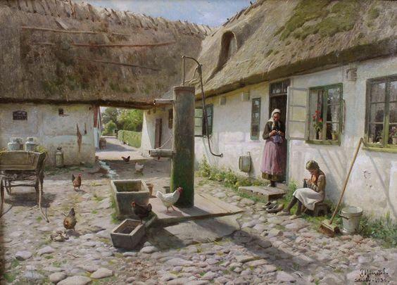Um pátio com avó e menina tricotando Óleo sobre tela 50 x 70 cm - 1936