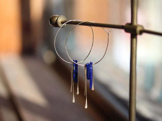 Lapis Lazuli Dangle Earrings Hammered Gold by SanctuaryJewellery