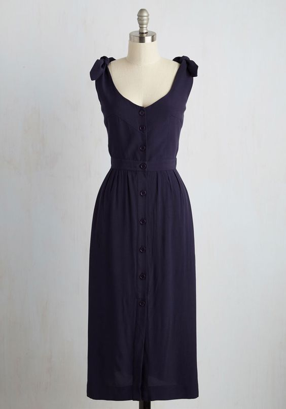 Studio Sale Dress. Its out with the old to make room for the new, and this navy blue maxi dress makes every sale an elegant exchange. #blue #modcloth
