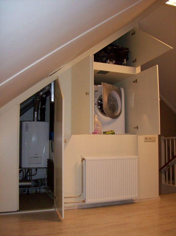 wasmachine en ketel mooi weggewerkt op zolder - Zolder : Pinterest ...