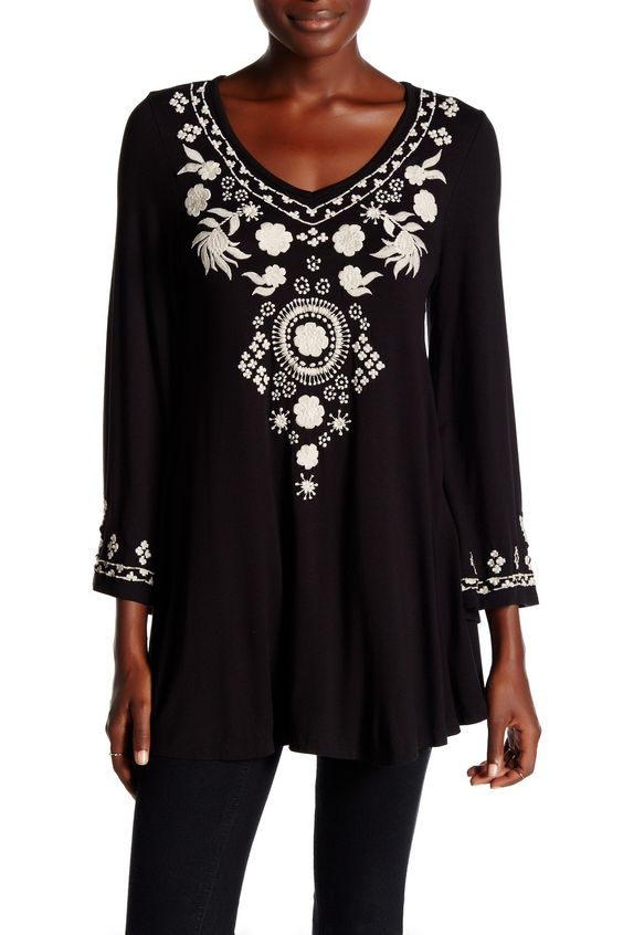 Paige Bell Sleeve Embroidered Tunic Dress