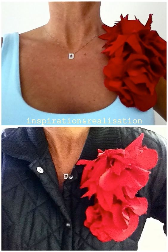 inspiration and realisation: DIY Fashion - add a corsage to a basic top, a jacket, a button down shirt to make that outfit pop!   corsage #tutorial #fabric_flowers