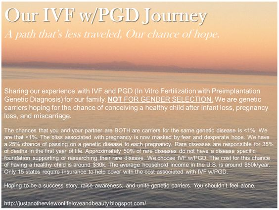 Our IVF w/PGD Journey. Genetic carriers hoping for the chance of conceiving a healthy child after infant loss, pregnancy loss, and miscarriage. http://justanotherviewonlifeloveandbeauty.blogspot.com/