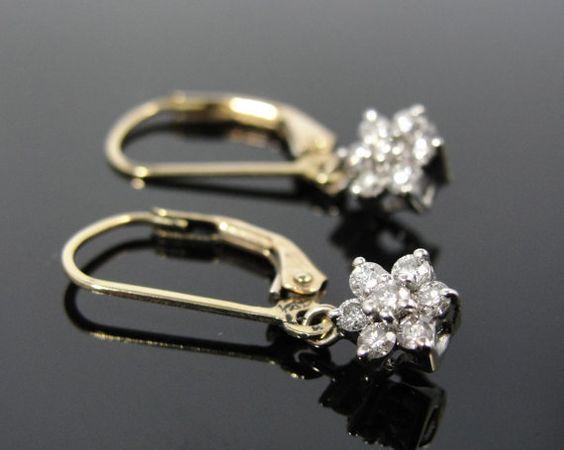 Sweet Diamond Flower Earrings from Vintage Art Deco Materials