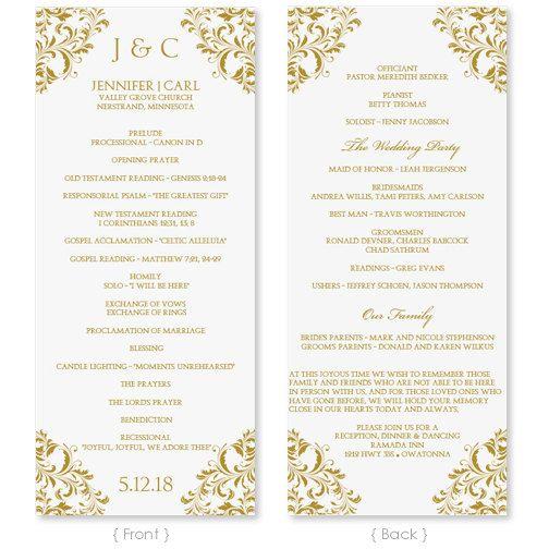 Wedding Program Template - Instant Download - EDIT YOUR WORDING - program templates word