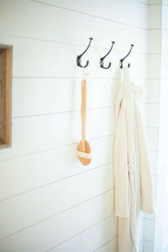 Wooden back bath brush on farmhouse hooks from World Market | Bathroom #decor #ideas | #WorldMarketMA #ad | Lauren McBride