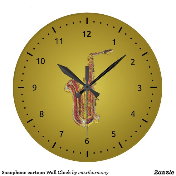 Saxophone cartoon Wall Clock