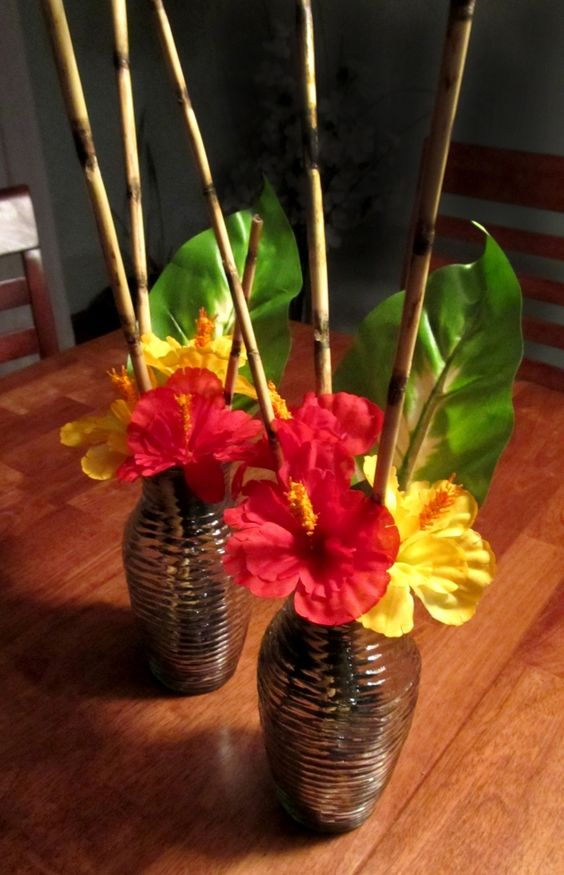 """Quick DIY Tropical Centerpiece""   ~Not super tall bamboo stalks."