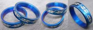 R042S charm men blue dragon stainless steel cool ring you pick size New