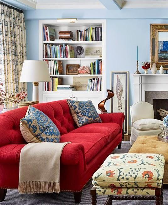 C mo decorar el sal n con un sof rojo google sof s y ideas - Salon con sofa rojo ...