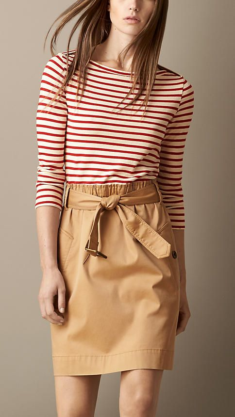 Contrast Skirt Striped Top Dress   Burberry