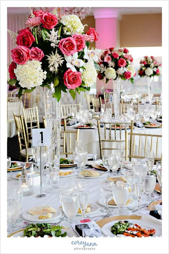 Tall Pink And White Floral Centerpieces At Wedding Reception Waterside Restaurant Catering