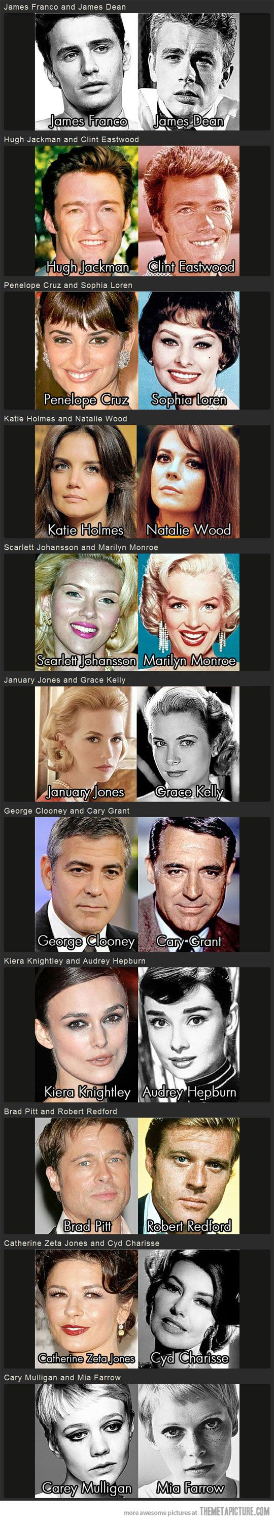 Today's movie stars and their classic film lookalikes. I think Catherine zeta jones and Penelope Cruz should be switched: