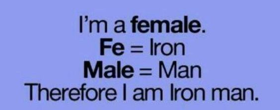 I am a FEMALE ... I AM IRON MAN! FROM: http://media-cache-ak0.pinimg.com/originals/47/35/c9/4735c9d58c590a162f4ec5187cd44405.jpg
