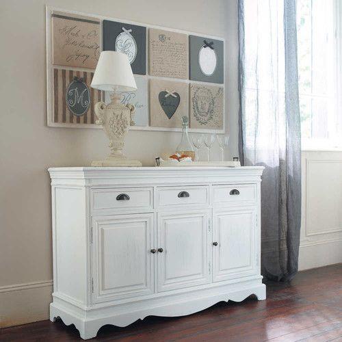 Credenza bianca in legno di paulonia l 131 cm for Maison du monde credenze basse