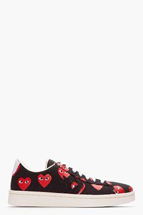 Comme Des Garçons Play Black Canvas Heart Logo Low-top Converse Pro Sneakers for men | SSENSE