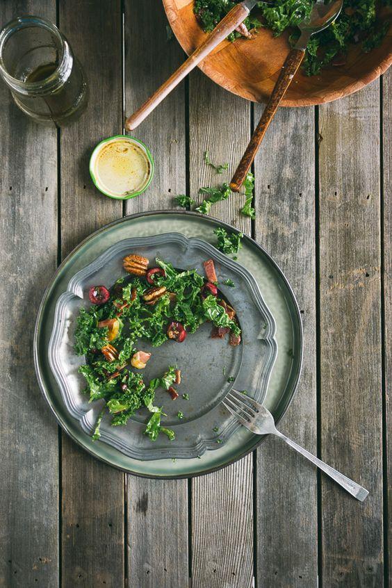 Kale, Prosciutto, Cherry, & Pecan Salad | Souvlaki For The Soul