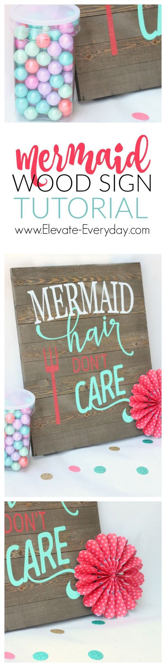 How to make this cute mermaid sign.  Didn't even have to make the palette sign, got it at walmart.