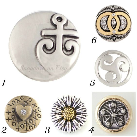 Metal Snap charms will fit regular Ginger Snaps Jewelry, Magnolia & Vine plus other 18-20 mm snap jewelry. by Snapdora on Etsy