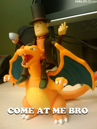 Professor Layton on a Charizard. Your argument is invalid.