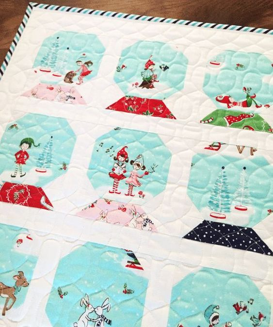 Christmas holiday snow globe quilt - Tasha Noel: