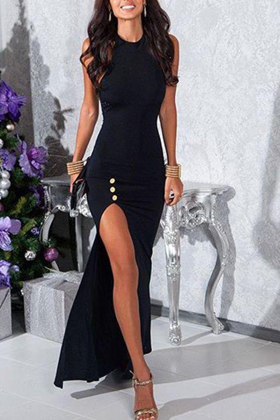 Jewel Neck Sleeveless High Slit Prom Dress