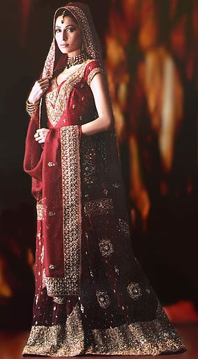 Bw6979 red banarsi crinkle chiffon gharara traditional for Middle eastern wedding dresses