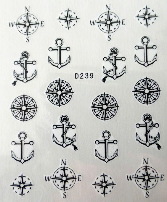 Nail art stickers décalcomanie manucure: ancres et boussoles design - noir