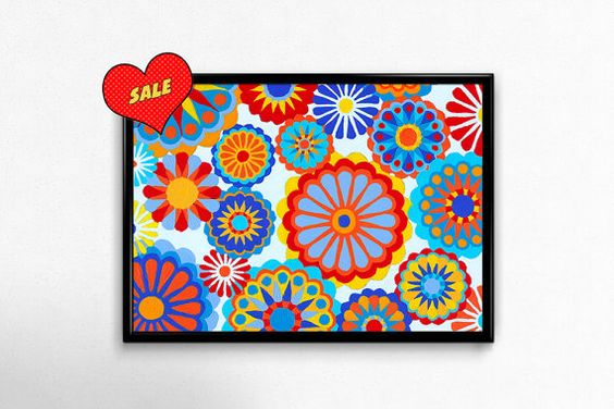 Bright Multi-Color Floral Pattern by NocturnalPandie on Etsy
