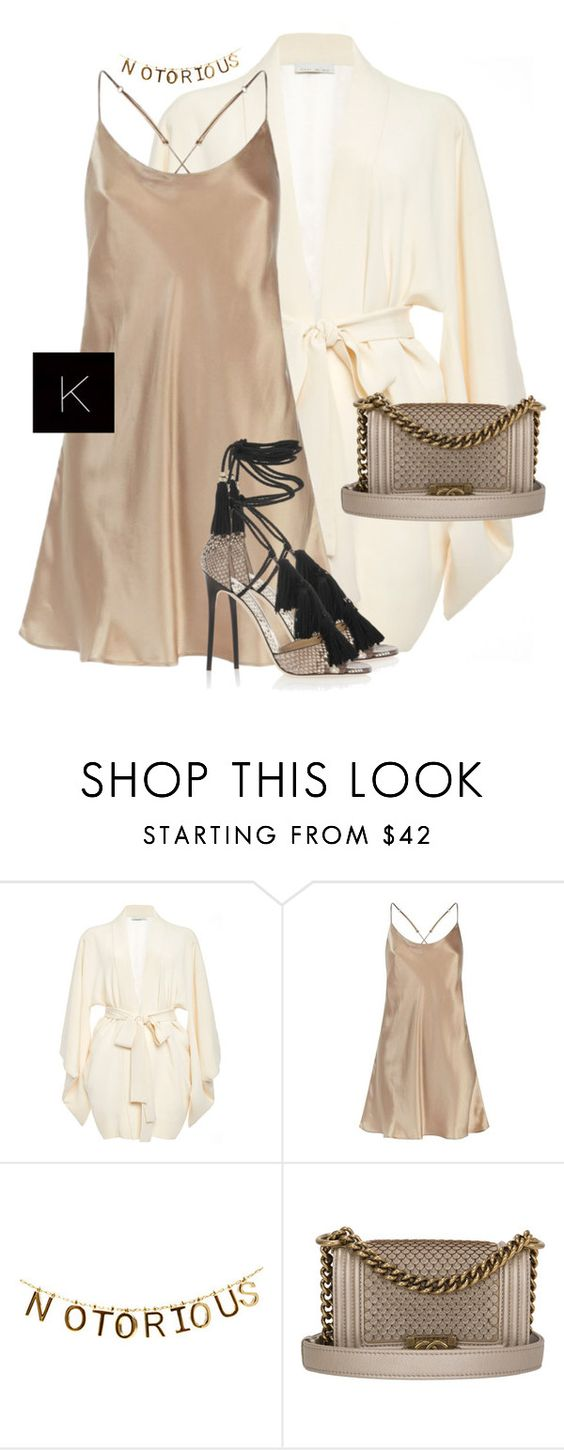 """""""Untitled #3521"""" by kimberlythestylist ❤ liked on Polyvore featuring Fleur du Mal, Harrods, Chanel and Jimmy Choo"""