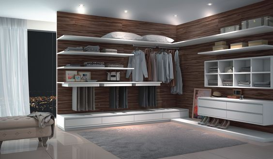 Closet Sorrento Caixas: 15mm MDF Branco Frentes: 18mm MDF Mazarino Verona Tamponamento: Sorrento | Branco Acessórios: Cabideiro de led | calceiro com frente em madeira