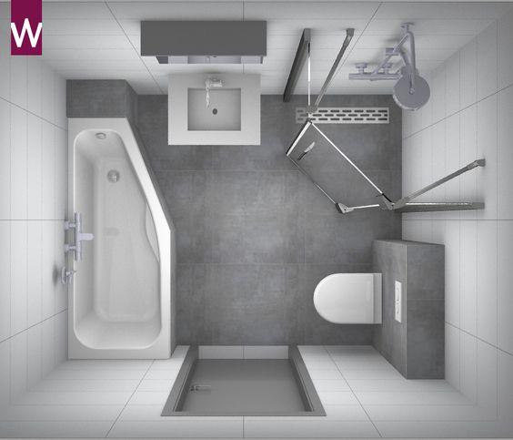 Kleine badkamer met versmalling voetgedeelte in ligbad kleine badkamer pinterest met - Lay outs badkamer ...