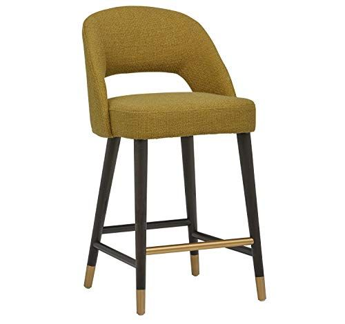 Rivet Whit Contemporary Upholstered Counter Height Stool With Gold Accents 37 H Lemongrass Yellow Rive Counter Height Stools Stool Kitchen Counter Bar Stools Upholstered counter height stools