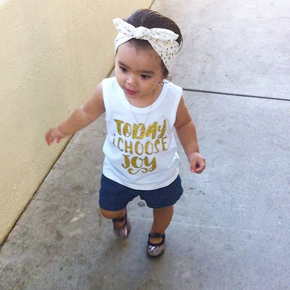 "How adorable is @katherine_moments strutting her stuff in our ""Today I Choose Joy"" tank? ❤️ #babytruthbabes"
