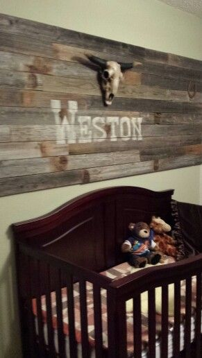 My grandson Weston's room I designed & created. His Auntie Abbey helped! Western rustic boy nursery