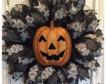 Items similar to Fall Pumpkin Deco Mesh Wreath on Etsy