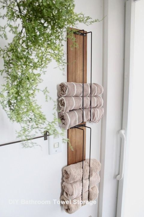 Pin By Chelsea Langer On Home Towel Storage Bathroom Towel Storage Small Bathroom Shelves