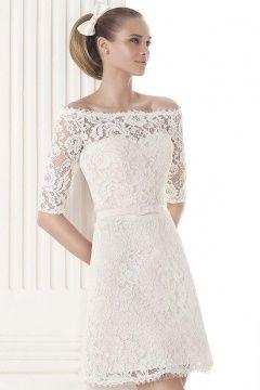 Elegantes A-Linie Ivory Spitze Knielanges Brautkleider mit Ärmel