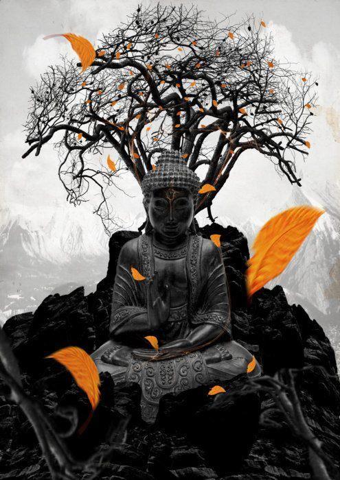 """35. """"No zen, a iluminação é geralmente chamada de satori ou kensho. O kensho é o primeiro vislumbre, por assim dizer, da verdadeira natureza da realidade e de si mesmo, é mais breve e pouco profundo. O satori, por sua vez, é uma experiência mais profunda e duradoura, em que o praticante tem uma experiência intensa da Natureza de Buda, e vê sua 'face original' """". (Fonte: Wikipédia) - Da pasta: Tradições, Mitologias, Ícones, Holismo."""