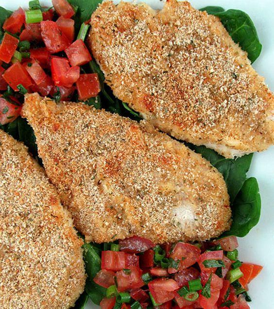 Bruschetta chicken, Bruschetta and Parmesan crusted on Pinterest