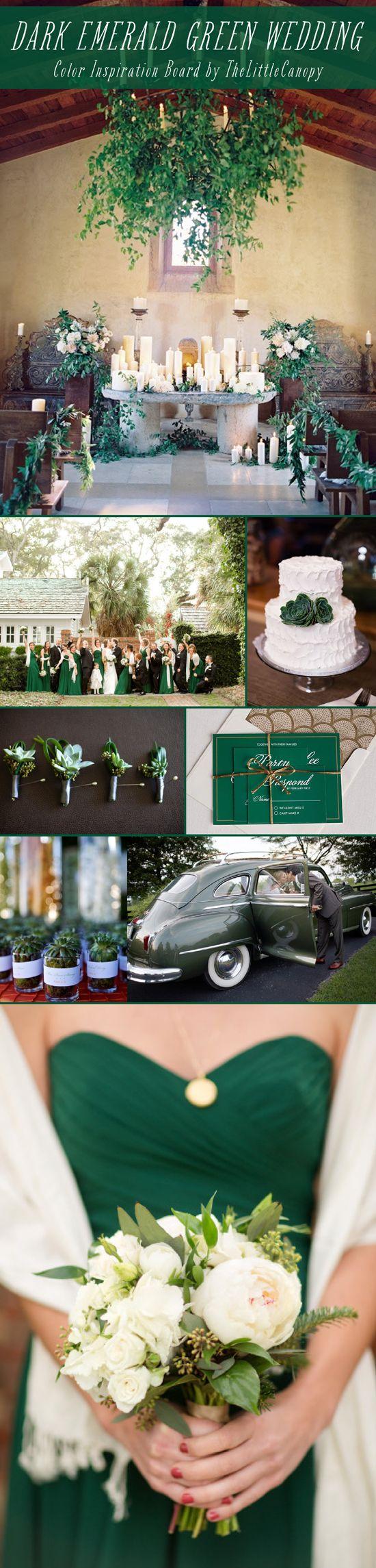Wedding Inspiration Board Dark Emerald Green Color Theme